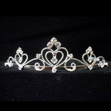 Rhinestone Heart Twist Communion Flower Girl Tiara Headpiece