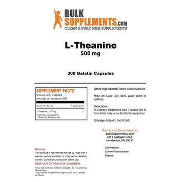 BulkSupplements Pure L-Theanine Capsules - 500mg