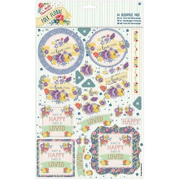 Docrafts Papermania Folk Floral A4 Decoupage Pack-Laugh