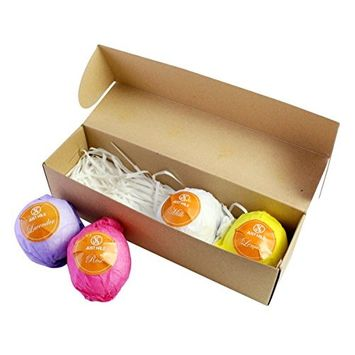 Bath Bombs Gift Set | Infused with Essential Oils | Lavender Lemon Rose Milk Essence | Skin Loving | Fizzing | All Natural | Fragrant | Refreshing | Bath Time | Easter Holiday Fun Gift Idea