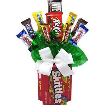 Candy Blossoms Candyblossoms Skittles Assorted Candy Holiday Gift Basket, 10 pc