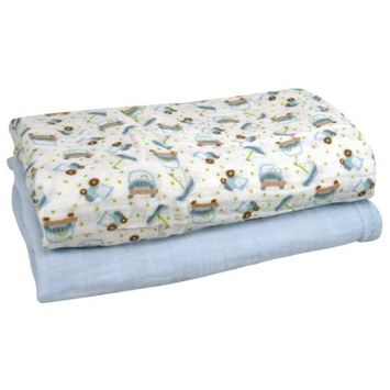 Stephan Baby Cotton Muslin Swaddle Blankets Gift Set, Solid Blue and Cars, 2 Piece