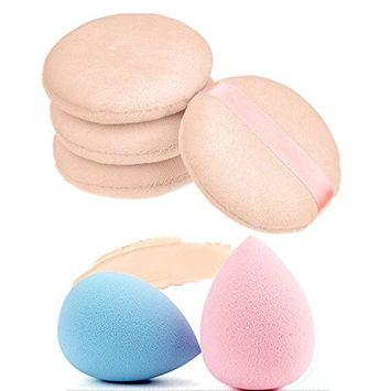 4 Pcs Powder Puff, Makeup Blender Beauty Sponge, Soft Pure Cotton Makeup Pads Face Puff Loose Foundation Powder Applicator for Makeup and Skin Care