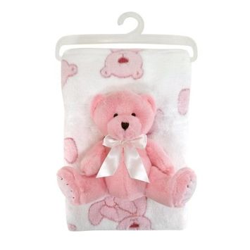 Stephan Baby Snuggle Fleece Crib Blanket and Plush Toy Set, Pink Bear