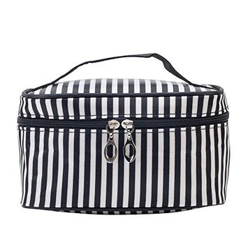 Washable And Durable, Black And White PU Beauty And Make Up Cosmetics Pouch / Bag / Case for Makeup Utensils And Toiletries By VAGA