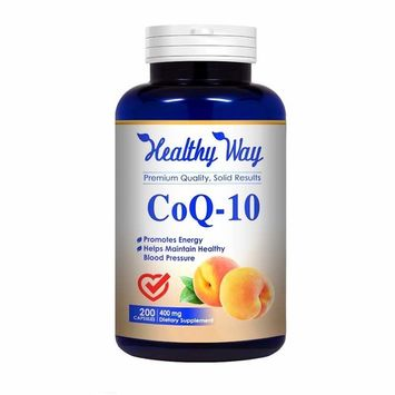 Healthy Way Pure CoQ10 400mg 200 Capsules Supports Heart Health & Helps Maintain Healthy Blood Pressure - NON-GMO USA Made 100% Money Back Guarantee - Order Risk Free!