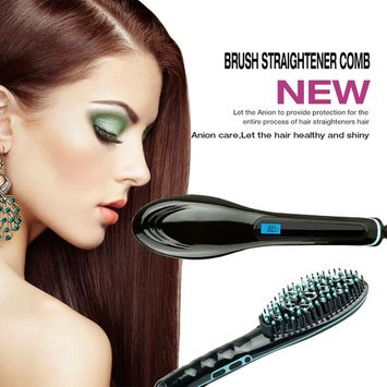 Besmall Electric Hair Straightening Brush Black Hair Straightener Hair Styler Black & Blue