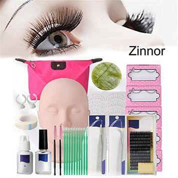 Zinnor Professional Head Model Lip Makeup Grafting Eyelash Training Tools Set Full Mannequin Training Makeup False Eyelashes Extension Glue Tool Practice...