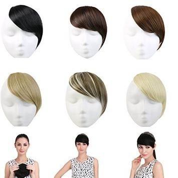 SARLA Synthetic Bang Hairpieces Clip In Side Swept Bangs Extension B2 (16H613 Dirty Blonde)
