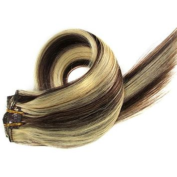 Loviness Brazilian Human Hair Extensions 15 Inches 70 Grams Clip in Silky Straight Weft Virgin Hair, Color 4-613