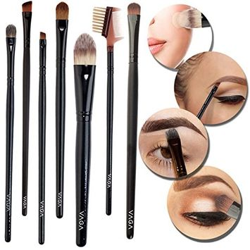 7pcs Make Up Cosmetics Tools Set / Kit / Lot of Facial / Face Makeup Brushes / Applicators With Eyelashes and Eyes Brows Comb Brush Combo for Eyeliners, Eyebrows, Eyeshadows Concealers and Foundations