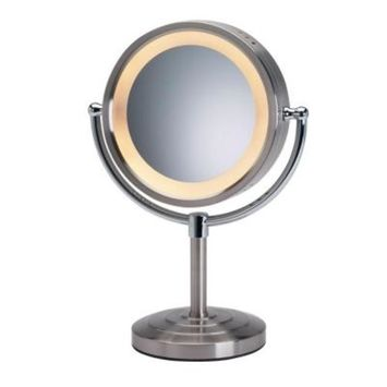 SEE ALL 8-1/2 in. x 15 in. Round Lighted 5X Magnification Pedestal Makeup Mirror in Chrome