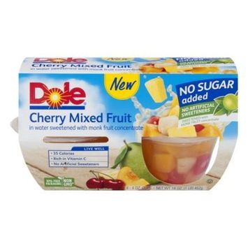 Dole Fruit Cups Cherry Mixed Fruit No Sugar Added 4 CT, 16oz