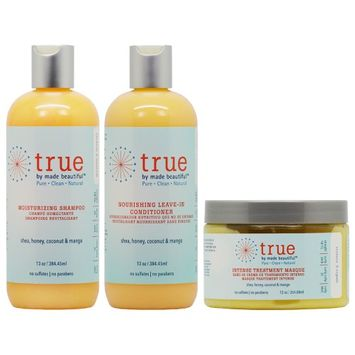 True By Made Beautiful Moisturizing Shampoo + Leave In Conditioner 13oz + Masque 12oz 'Set' (Pack of 3)