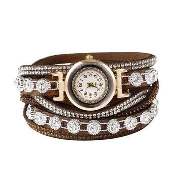 Unbrand - Women Fashion Casual Decor Round Rhinestone Bracelet Watch TOYS2 [name: actual_color value: actual_color-coffee]