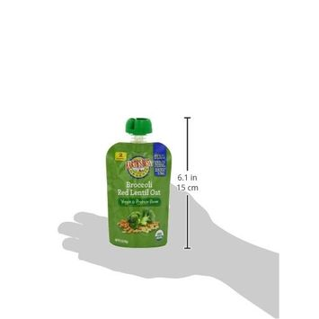 Earth's Best Organic Baby Food Puree Pouch, Broccoli Red Lentil & Oat, Stage 2 For Babies 6 months & Older, 3.5 Oz (Pack of 12)