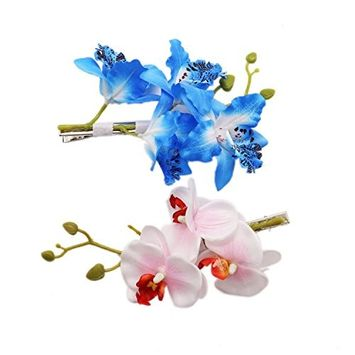 IDS 2Pcs Women Hawaiian Orchid Flower Hair Clip Hair pins for Beach Party