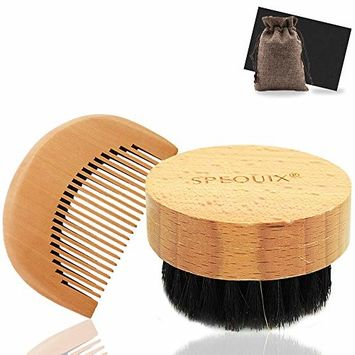 Beard&Mustache Combs and Brush Kit for Men's Facial Hair Care - Black Gift Box & Storage Bag - Natural Boar Bristle Brush and Handmade Wooden Beard Comb by SPEQUIX (Pocket-size Comb & Circular Brush)