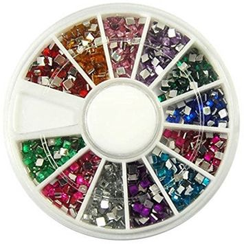 1 Set Pleasing Popular 3D Acrylic Nails Art Wheels Tools Kit DIY Tips Accessory Decor Color Style Glitter Square