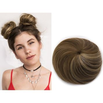 Fake Hair Buns Extensions Clip in Donut Chignon Bun Synthetic Hairpieces Ballerina Bayalage Brown Updo Accessories For Women Gril Lady SARLA Q3&10H16