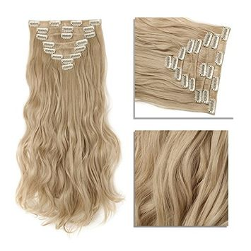 Clip in Hair Extensions Synthetic Full Head Hairpieces Thick Long Wavy Curly Soft Silky 8pcs 18clips for Women Fashion and Beauty 17'' / 17 inch(18/613 Dark Blonde Mix Bleach Blonde)