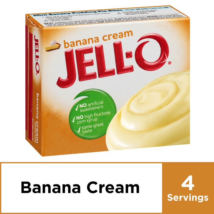 Jell-O Banana Cream Instant Pudding Mix, 3.4 oz Box