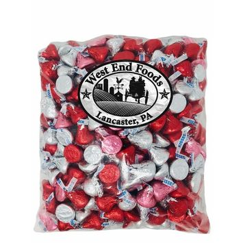 Bulk Milk Chocolate Assorted Hershey Kisses Pink, Red and Silver (4 Lb)