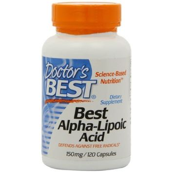 Doctor's Best Alpha-Lipoic Acid, Non-GMO, Vegan, Gluten Free, Soy Free, Promotes Healthy Blood Sugar, 150 mg 120 Veggie Caps