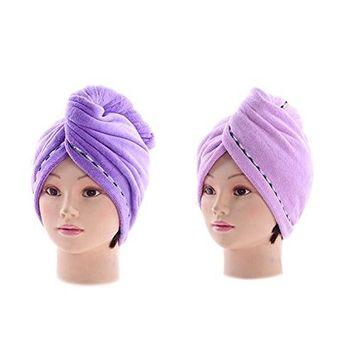 Healthcom Personal Hair Drying Towels Microfiber Towel Hair Turban Wrap Fast Drying Hair Towel Super Absorbent Hair Wrap,2 Pcs,Purple + Light Purple