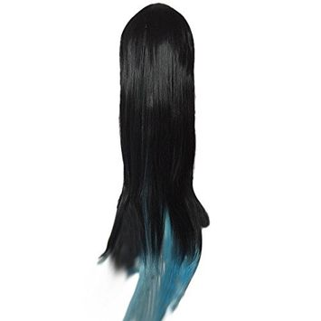 SODIAL(R)Black+Blue color womens lady sexy straight wigs cosplay long hair