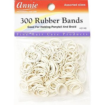 ANNIE 300 RUBBER BANDS WHITE ASSORTED SIZE #3148 ELASTIC HAIR TIE
