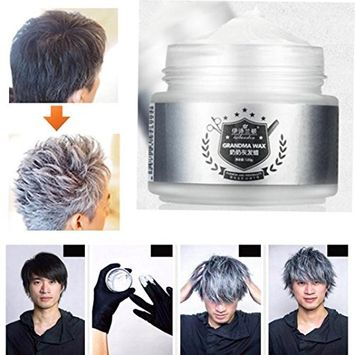 Hunputa Silver Clay Ash Hair Wax, Professional Silvery Grey Hair Pomades, Natural Matte Hairstyle Hair Dye Wax for Party, Cosplay Outfit, Long-lasting Gel Cream,Easy Coloring and Cleansing