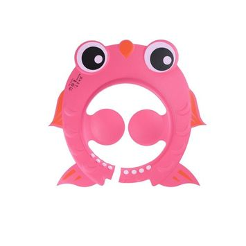 Ioffersuper 1 Pcs Cartoon Wash Hair Shield Protector Baby Kids Safe Bathing Shower Cap Shampoo Hat Pink