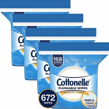 Cottonelle Flushable Wet Wipes, 672 Wipes per Pack [4 Refills]