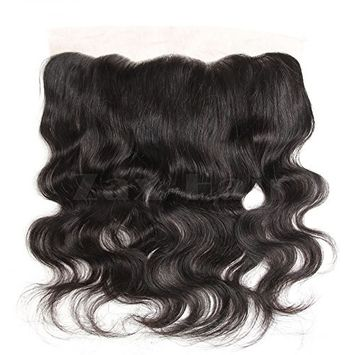 Zax Hair Body Wave Peruvian Virgin Human Hair Lace Frontal Closure 13x4 Ear to Ear Natural Hairline Bleached Knots With Baby Hair 18 inches Natural Color