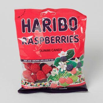 Dollaritemdirect GUMMY CANDY HARIBO RASPBERRIES 4 OZ PEG BAG, Case Pack of 12