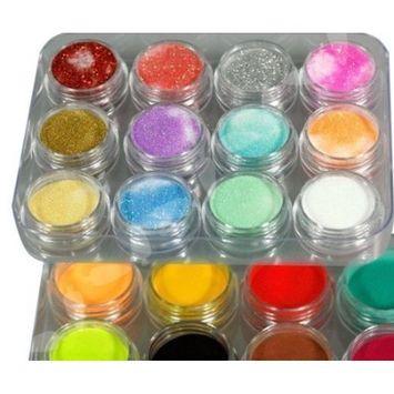 NYKKOLA 24 Colors 3D Nail Art Glitter Acrylic Powder Decoration