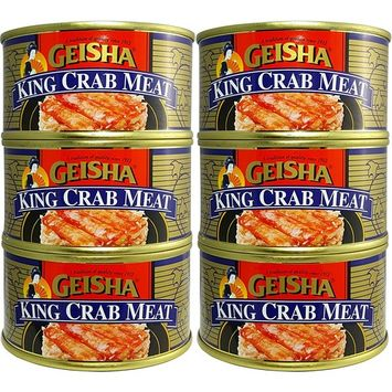 King Crab Meat, Wild Caught (Pack of 6), 5.8 oz Can - Geisha