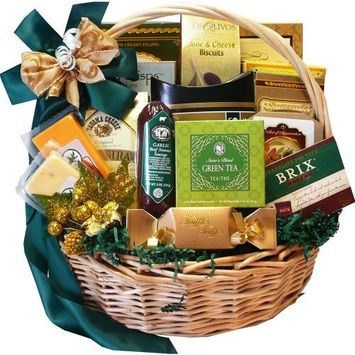Well Stocked Gourmet Food and Snack Sampler Gift Basket with Smoked Salmon (Candy Option)