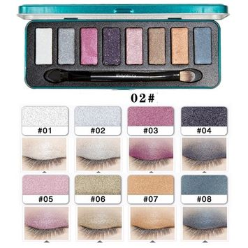 SHERUI 8 Colors Eyeshadow Palette Set Makeup Brush Cosmetics Makeup Powder Shimmer Matte Eyeshadow