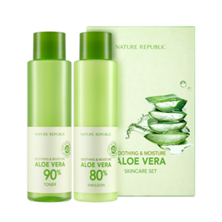 Nature Republic Soothing & Moisture Aloe Vera Basic Set: Aloe Vera 90% Toner 160ml + Aloe Vera 80% Emulsion 160ml 2pcs