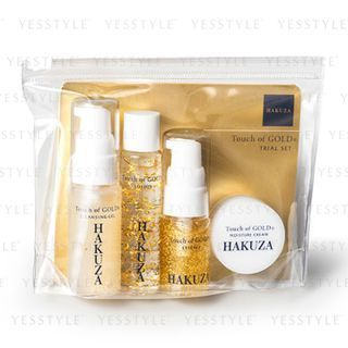 HAKUZA - Touch Of Gold Skin Trial Set: Cleansing Gel 20ml + Lotion 20ml + Essence 13ml + Moisture Cream 7g 4 pcs