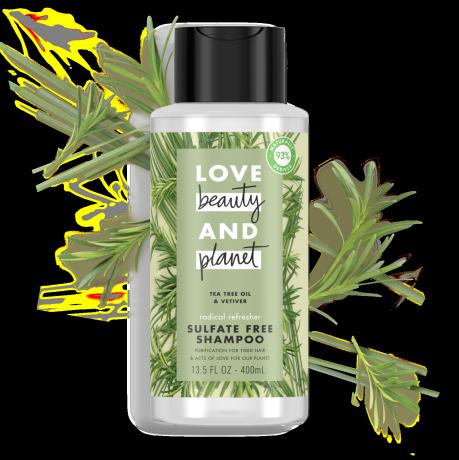 Love Beauty and Planet sulfate-free tea tree oil & vetiver shampoo