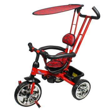 Monumental Recordings Millennium Baby Trike with Push Bar and Flat Canopy - Red