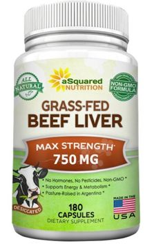 Asquared Nutrition Grass Fed Beef Liver (Desiccated) - 180 Capsules - Argentine Pasture-Raised Beef Liver Pills - 3000mg Supplement Powder Per Serving - Natural Iron, B12, Vitamin A for Energy - Non-GMO