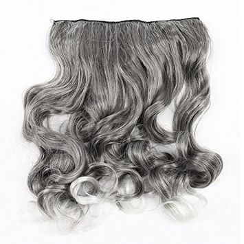 SODIAL(R) New Fashion Hair Color Trend- silver gray + white Curly Clip in Hair extensions Grandma Hair