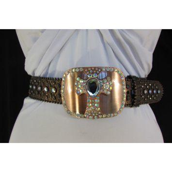 Women Brown Genuine Leather Western Fashion Belt Metal Cross Buckle