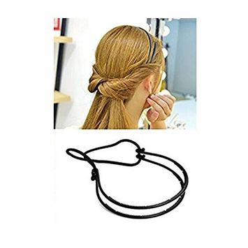2PCS Women Lady Girl Fashion Black Double Elastic Hair Hoop Headband Hair Band Modelling Headdress