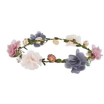 Lux Accessories Multicolor Chiffon Jewel Garland Festival Flower Crown