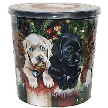 Holiday Popcorn Tin (Three Labrador Puppies)